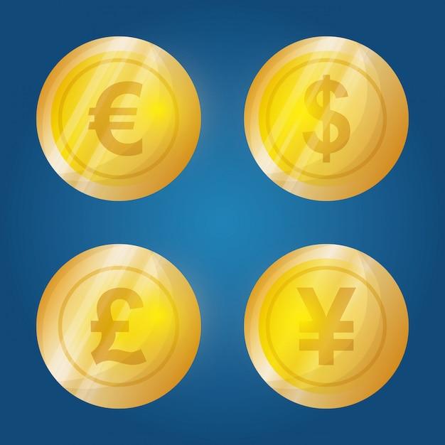 Zakelijk, geld en wereldeconomie Premium Vector