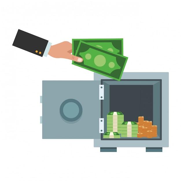 Zakelijk geldbesparend element Premium Vector