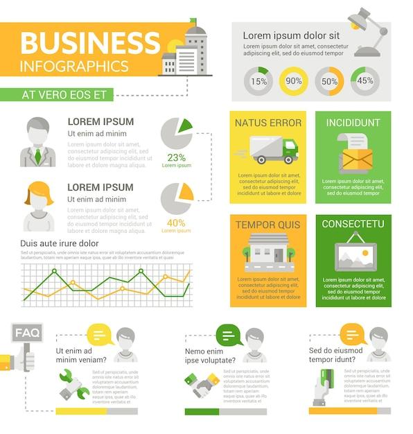 Zakelijk - info poster, brochure voorbladsjabloon lay-out met pictogrammen, andere infographic elementen en opvultekst Premium Vector
