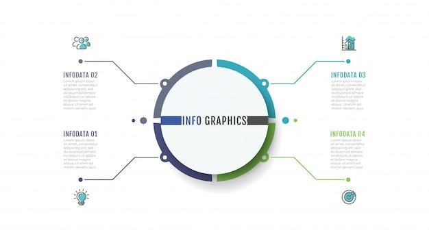 Zakelijk infographic labelontwerp met marketing pictogrammen Premium Vector