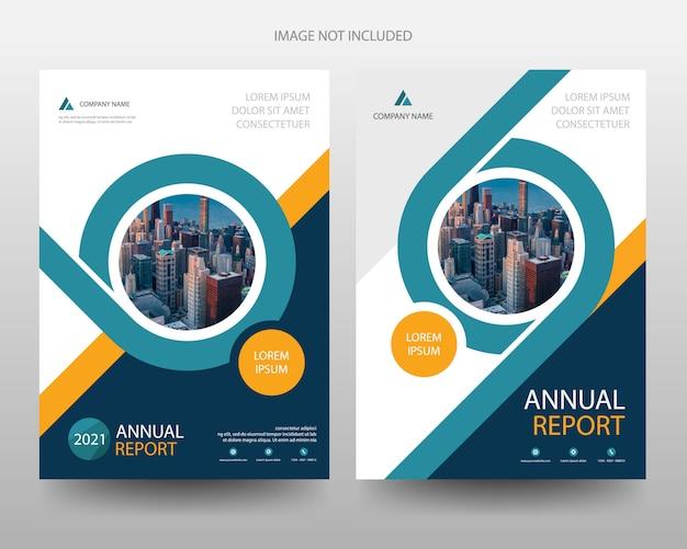 Zakelijk jaarverslag flyer folder brochure voorbladsjabloon Premium Vector