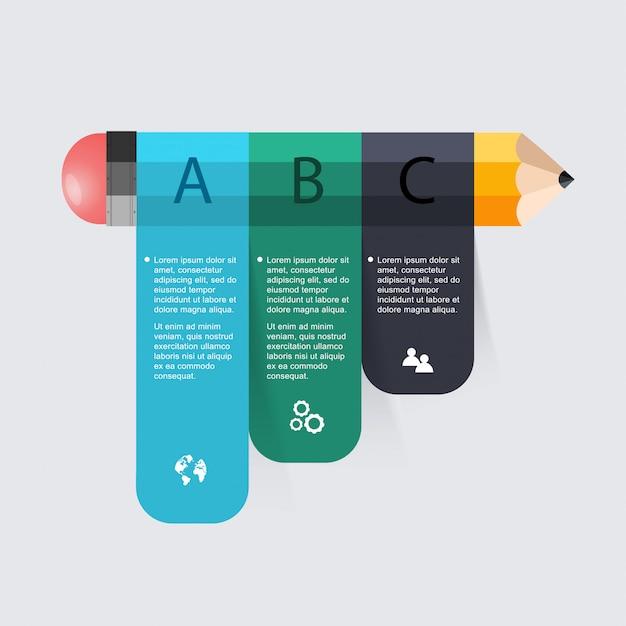 Zakelijk onderwijs potlood trap infographics optie. Premium Vector