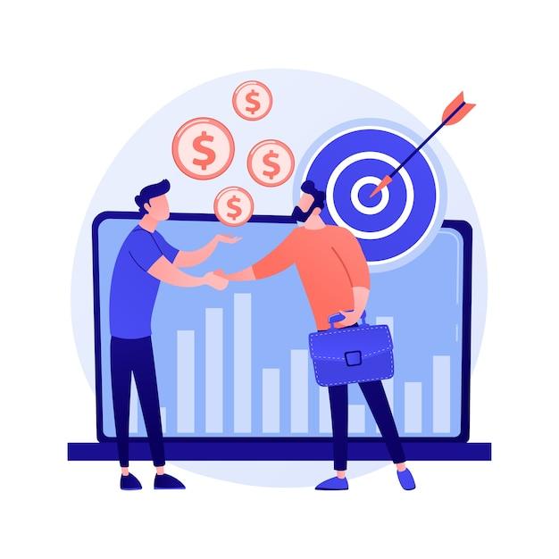 Zakelijk partnerschap, teamwerk, samenwerking. een deal maken, het bereiken van doelen, nuttige samenwerking. handshaking zakenlieden stripfiguren Gratis Vector
