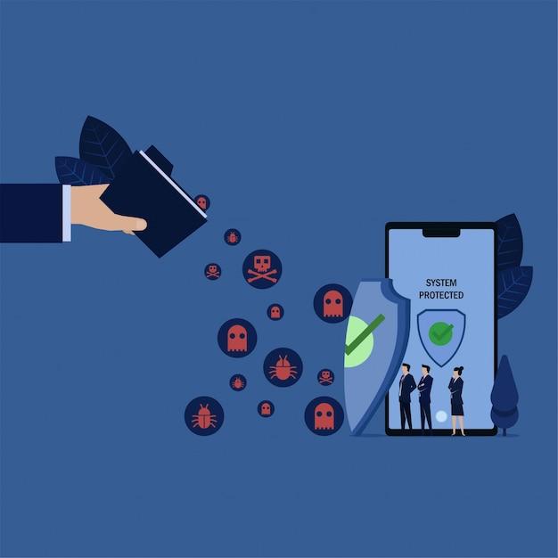 Zakelijk team zie folder verspreid virus naar telefoon beschermd door schild. Premium Vector