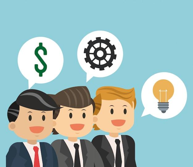 Zakelijk teamwerk met idee Premium Vector