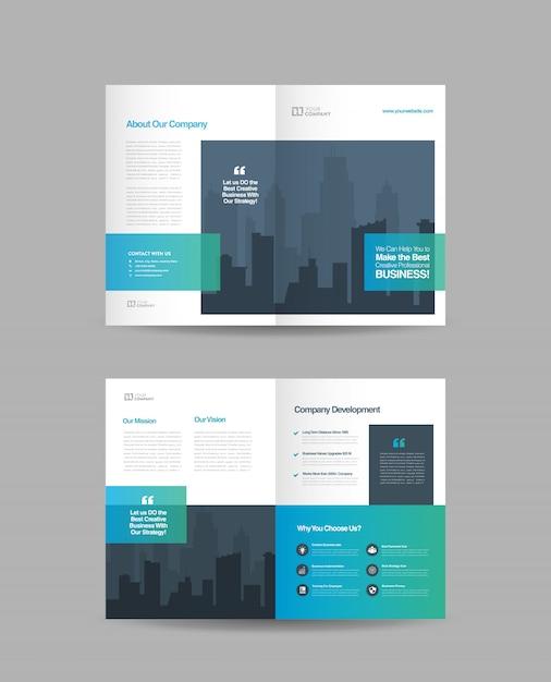 Zakelijk tweevoudig brochureontwerp Premium Vector