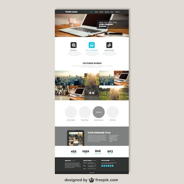 Zakelijk website template Gratis Vector