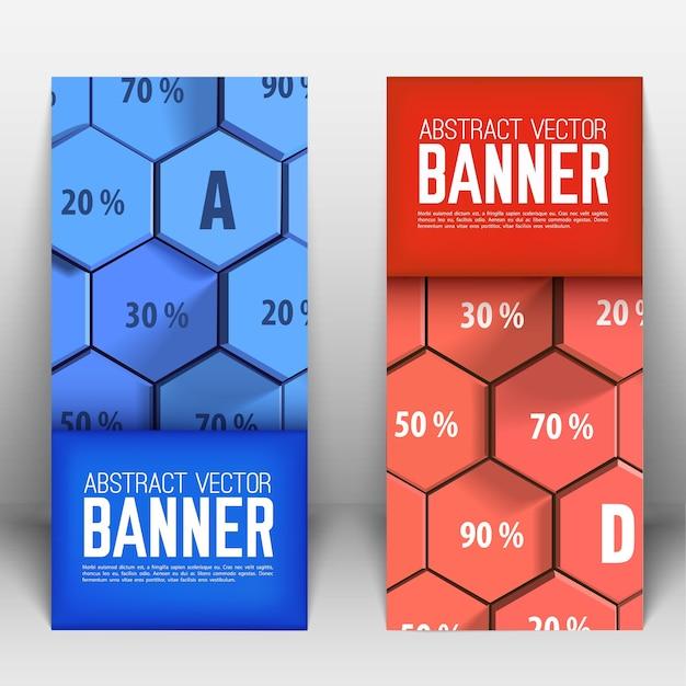 Zakelijke abstracte geometrische verticale banners met blauwe en rode 3d zeshoeken en percentage geïsoleerd Gratis Vector