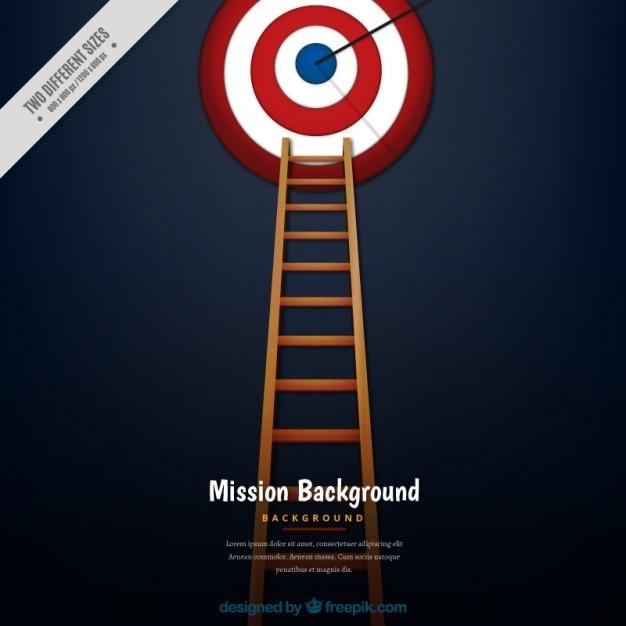 Zakelijke achtergrond met ladder en een dartbord Gratis Vector