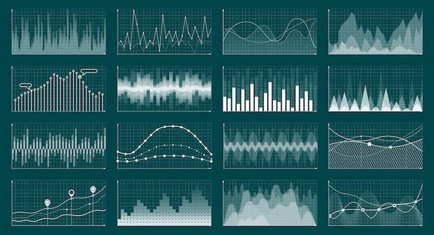 Zakelijke analyse economie uitwisseling grafieken cyaan vector concept illustratie Premium Vector