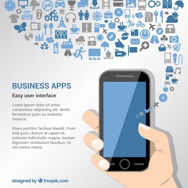 Zakelijke apps achtergrond Gratis Vector