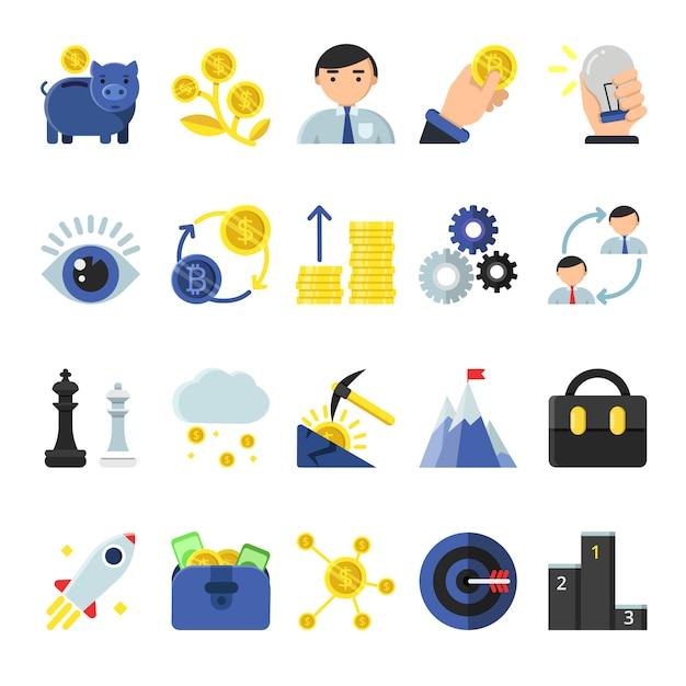 Zakelijke b2b-symbolen in vlakke stijl. pictogrammen van beheer en financiën Premium Vector