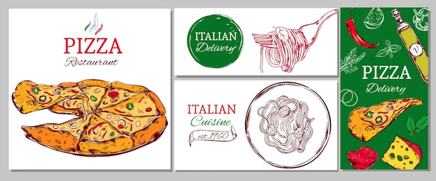 Zakelijke banner van het italiaanse restaurant met pizzadeegwaren en verschillende ingrediënten Gratis Vector