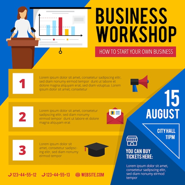 Zakelijke beginners training workshop aankondiging met beknopte programma datum en tijd Gratis Vector