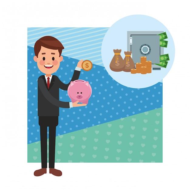 Zakelijke besparing geld cartoon Premium Vector