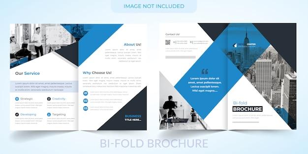 Zakelijke bi-voudige brochure met blauwe sjabloon Premium Vector