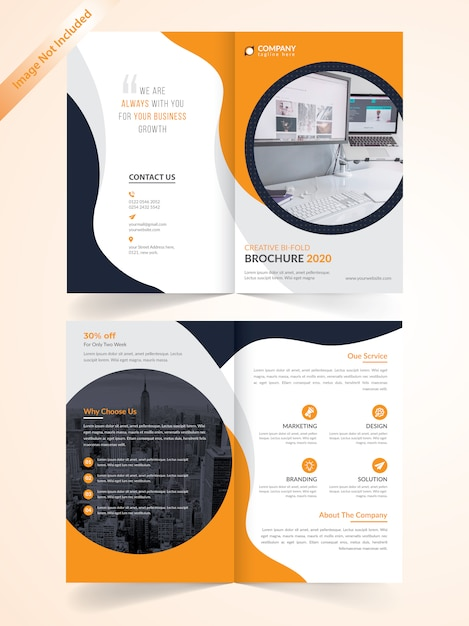 Zakelijke bi-voudige brochure met gele sjabloon Premium Vector