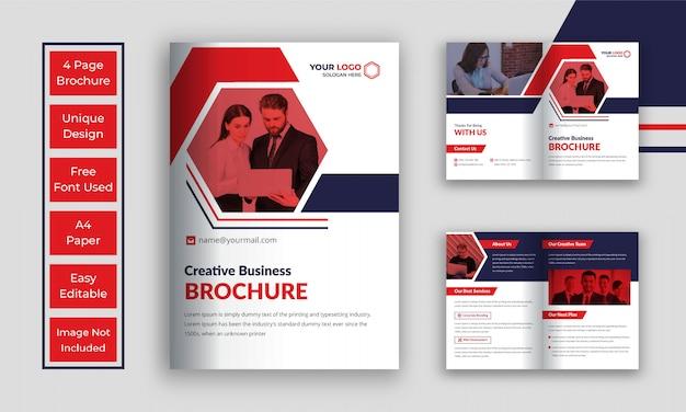 Zakelijke bi vouw brochure sjabloon Premium Vector