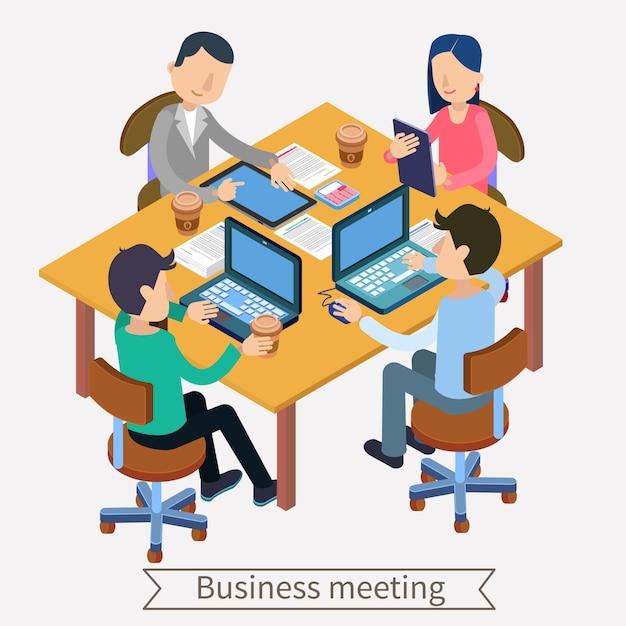 Zakelijke bijeenkomst en teamworking isometrische concept. beambten met laptops, tablets en documenten Premium Vector