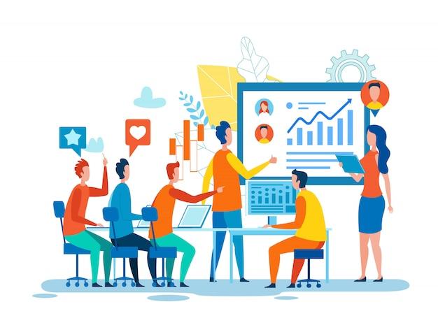 Zakelijke bijeenkomst gewijd aan social media marketing Premium Vector