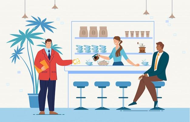 Zakelijke bijeenkomst in cafe platte concept Premium Vector
