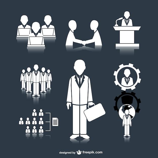 Zakelijke bijeenkomst mensen pictogrammen Gratis Vector
