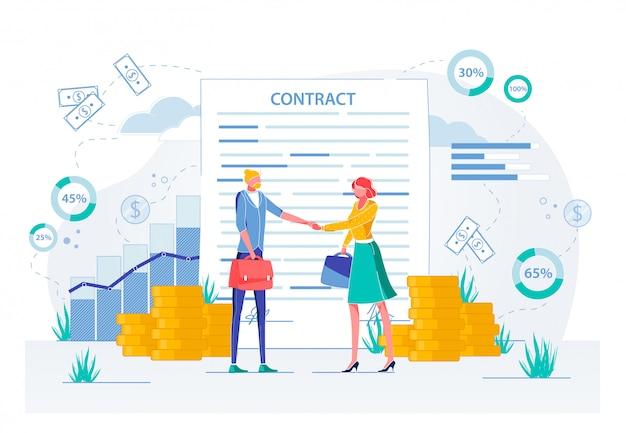 Zakelijke bijeenkomst ondertekenen contract, solliciteren. Premium Vector