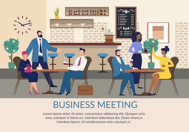 Zakelijke bijeenkomst reclame platte poster met tekst Premium Vector