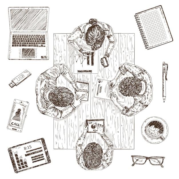 Zakelijke bijeenkomst schets concept Gratis Vector