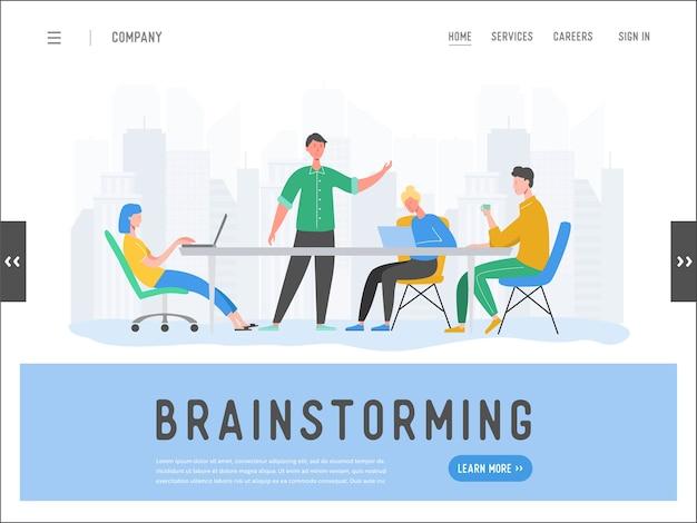 Zakelijke bijeenkomst teamwork concept bestemmingspagina sjabloon. zakenman en vrouw tekens, collega's communiceren brainstormen, discussie idee voor website of webpagina. Premium Vector