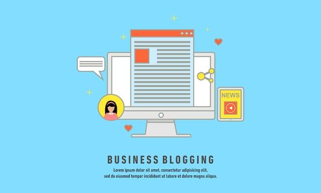 Zakelijke bloggen, commerciële blog posten, internet blogging service platte ontwerp vectorillustratie Premium Vector