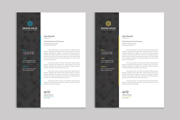 Zakelijke briefhoofd zakelijke sjabloon voor kantoor Premium Vector