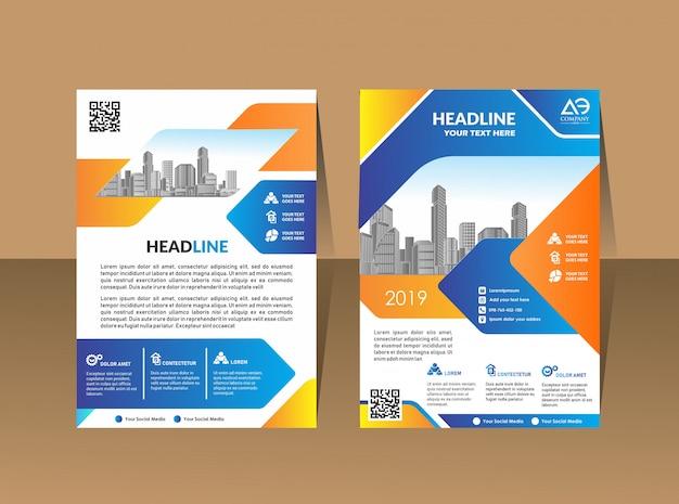 Zakelijke brochure achtergrond ontwerpsjabloon flyer lay-out Premium Vector