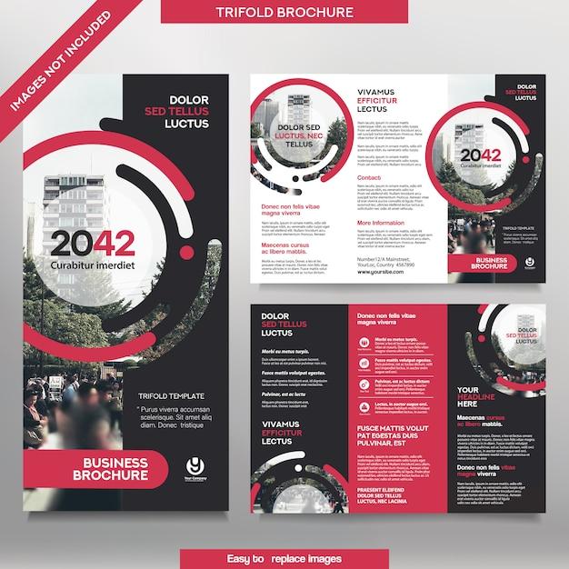 Zakelijke brochure sjabloon in tri-fold lay-out. corporate design leaflet met vervangbare afbeelding. Premium Vector