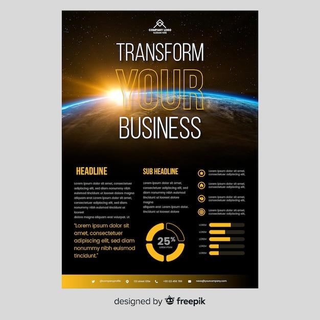 Zakelijke brochure sjabloon met foto Gratis Vector