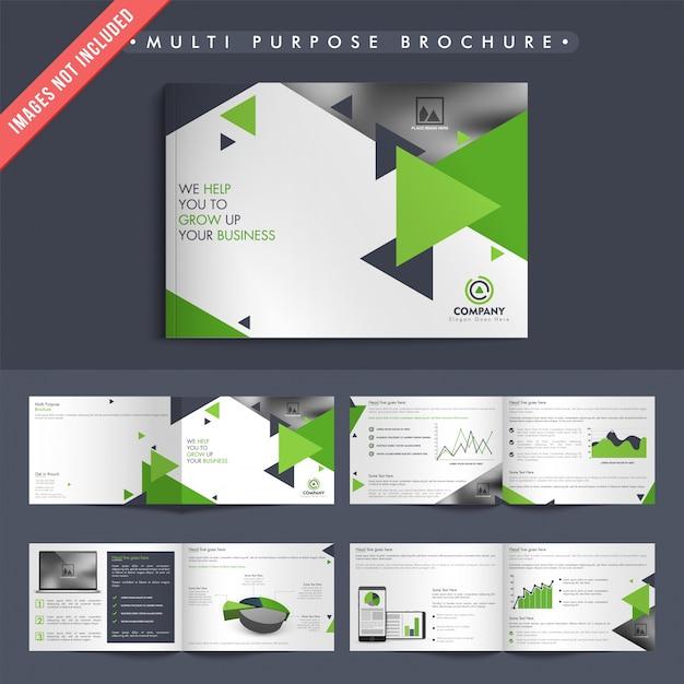 Zakelijke brochures met groene en grijze driehoekjes Premium Vector