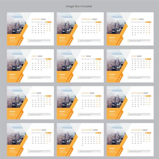 Zakelijke bureaukalender 2020 Premium Vector