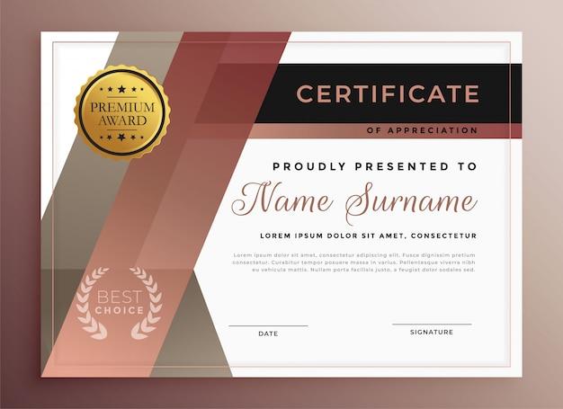 Zakelijke certificaatsjabloon in moderne geometrische stijl Gratis Vector