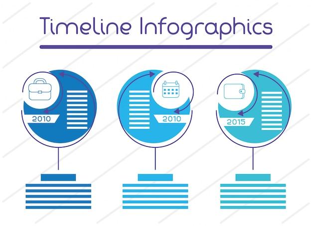Zakelijke circulaire tijdlijn infographics Premium Vector