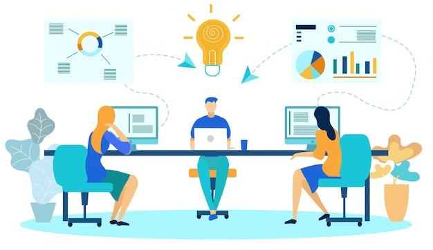 Zakelijke collega's op kantoor, ideeën genereren. Premium Vector