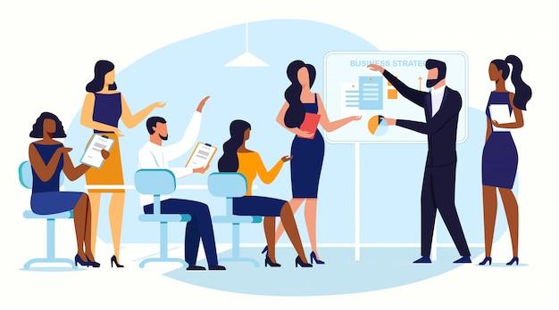 Zakelijke conferentie, brainstorm plat Premium Vector