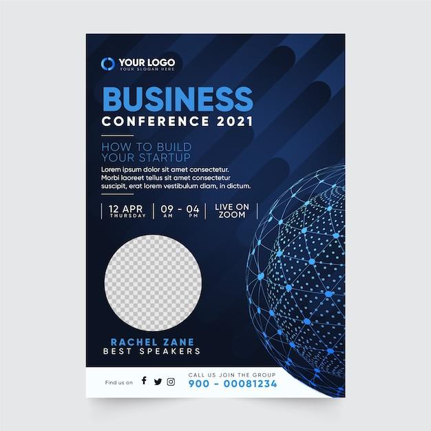 Zakelijke conferentie flyer afdruksjabloon Gratis Vector