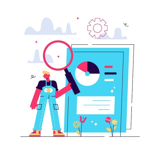 Zakelijke documenten scannen. elektronisch online doc met cirkeldiagram infographics. gegevensanalyse, jaarverslag, resultaatcontrole. man met vergrootglas. geïsoleerde concept metafoor illustratie Premium Vector