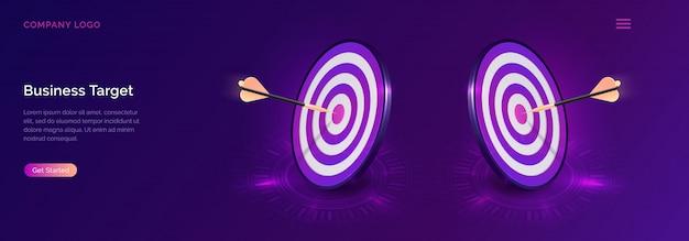Zakelijke doel isometrisch, dartbord met pijl Gratis Vector
