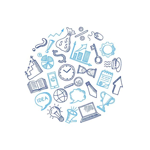 Zakelijke doodle pictogrammen in cirkelvorm Premium Vector