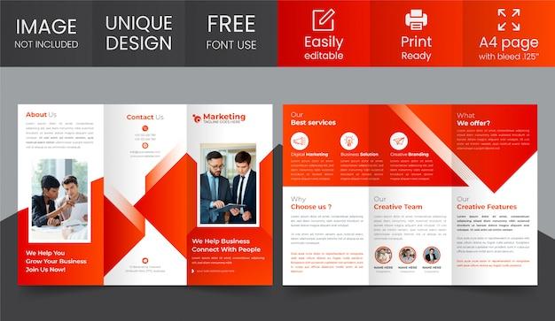 Zakelijke driebladige brochure ontwerpsjabloon Premium Vector