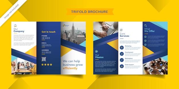 Zakelijke driebladige brochure sjabloon Premium Vector