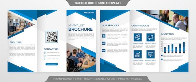 Zakelijke driebladige brochuremalplaatje met schone minimalistische stijl Premium Vector