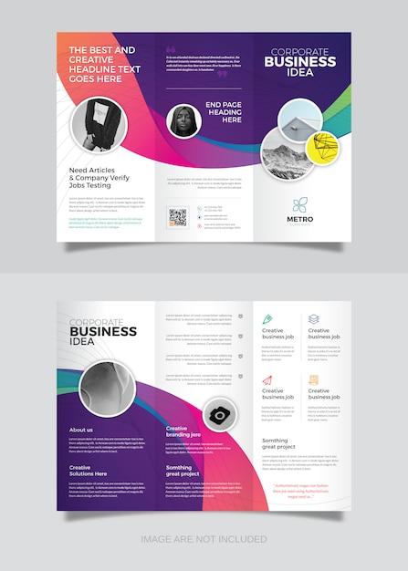 Zakelijke driebladige brochureontwerp Premium Vector