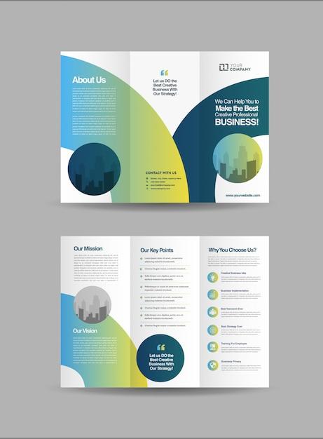Zakelijke driebladige brochures Premium Vector